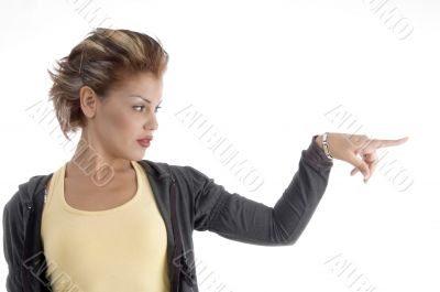 attractive woman indicating side