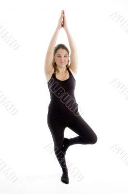 posing exercising young girl