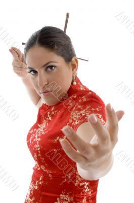 beautiful female in fighting pose