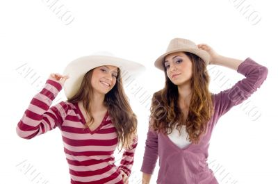 portrait of females with hat