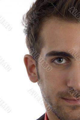 half length of man`s face