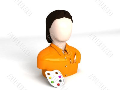 three dimensional character of artist