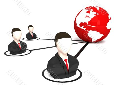 three dimensional business men and globe