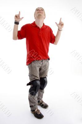 young american male with pointing fingers