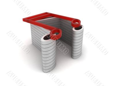 three dimensional red musical note