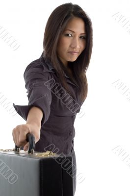 beautiful businesswoman showing briefcase