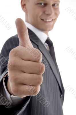 smiling handsome ceo showing thumb up