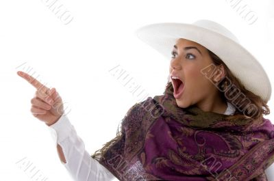 attractive female pointing