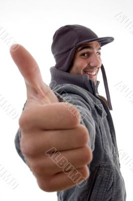 casual male model showing thumbs up
