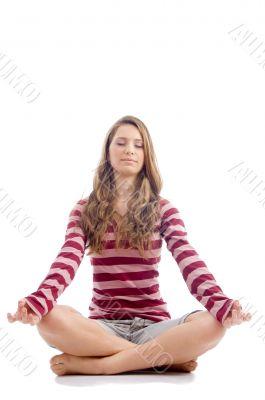 female doing meditation