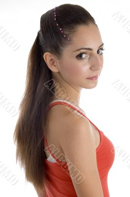portrait of beautiful hairstyle of female