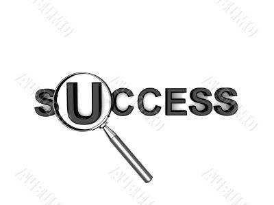 success text with lens