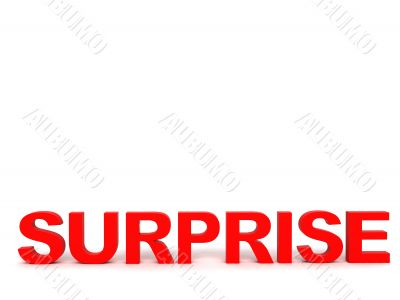 front view of surprise word