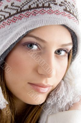 attractive face of female wearing cap