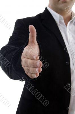 half length of businessman offering handshake