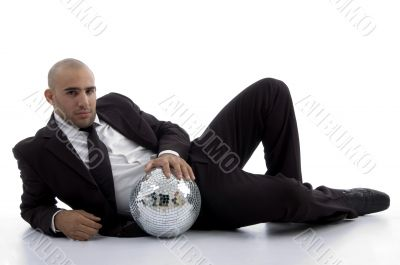 young accountant posing with disco ball