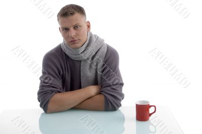 handsome male with coffee mug