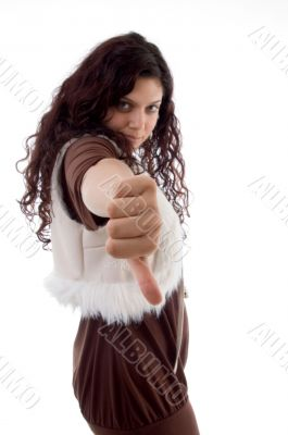 beautiful model with thumbs down