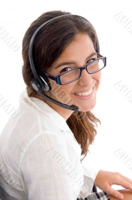 side pose of woman with headphone