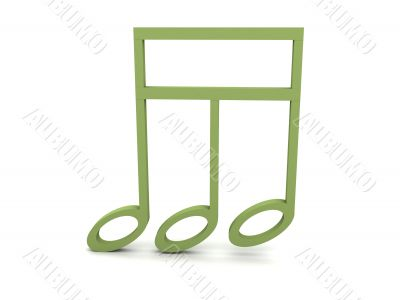 view of three dimensional green musical clef note