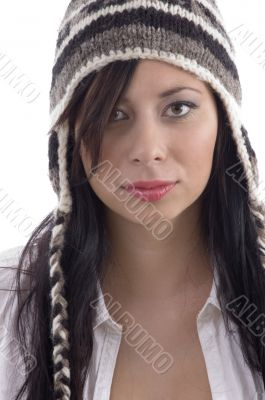 beautiful woman wearing woolen cap