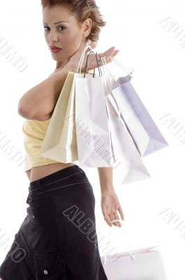 sexy young woman with shopping bag