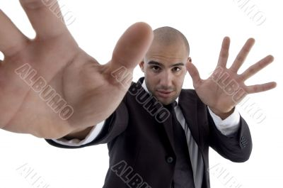 handsome young lawyer showing open palms