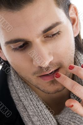 lips of man being touched by female hands