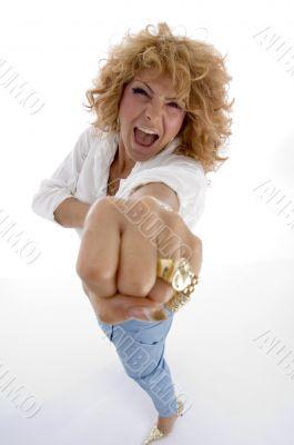 shouting woman showing you punch