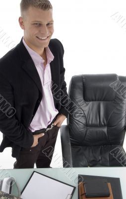 smiling manager in office