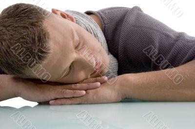 portrait of sleeping adult man