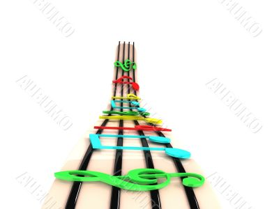 three dimensional rendered colorful musical notes