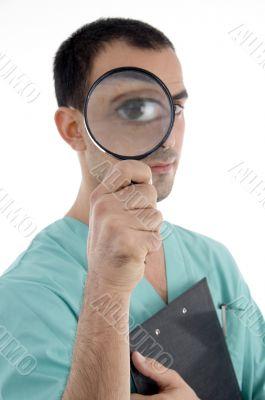 smart surgeon holding magnifier