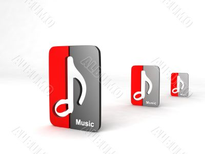 three dimensional  musical notes icon