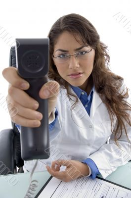 young doctor showing phone receiver