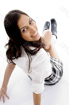 female posing and looking at camera
