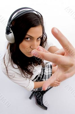 woman listening music in headset