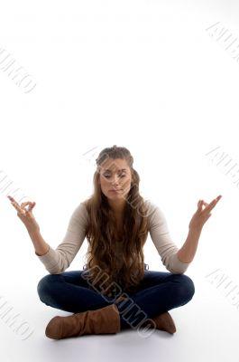 youth female doing meditation