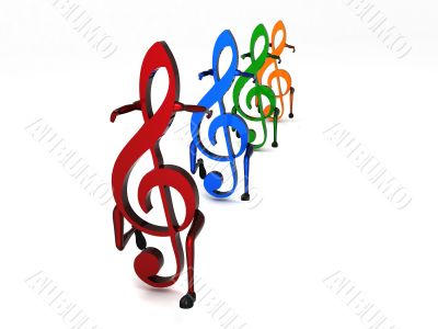 three dimensional dancing musical notes in row