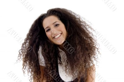 hispanic female posing with curly hairs