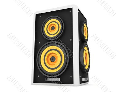 three dimensional front view of loud speaker