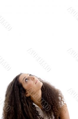 attractive woman looking upwards
