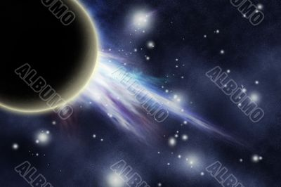 Digital created starfield with planet and big explosion