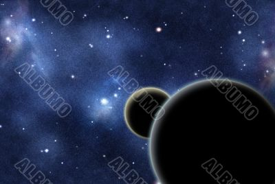 Digital created starfield with cosmic Nebula and two planets