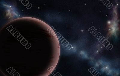 Digital created starfield with cosmic Nebula and red planet
