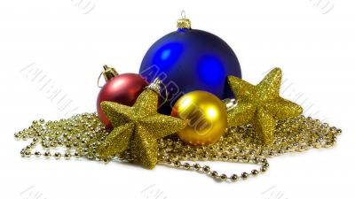 christmas balls and stars isolated