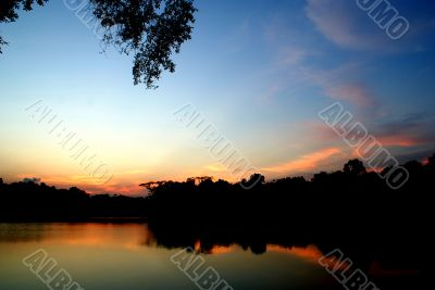 View of reservoir at sunset
