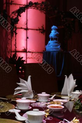 Ambient place setting for chinese wedding