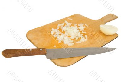 Knife and preparation board