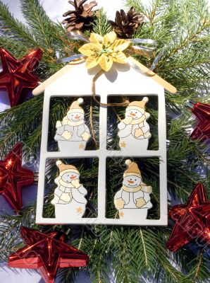 Snowmen in a decoration house